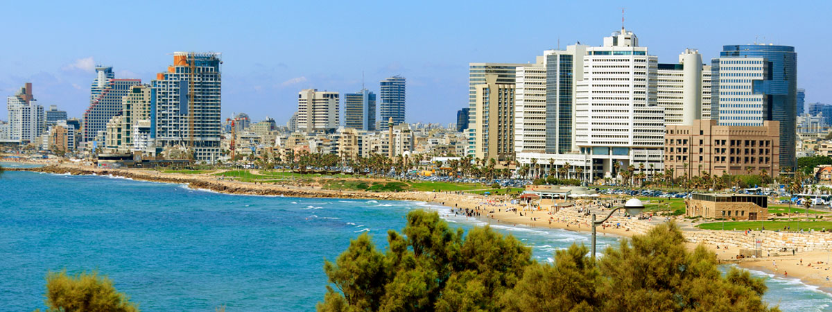 a photo of the Tel Aviv skyline